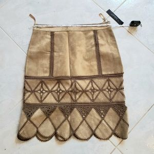 NWT Elie Tahari Tan Suede Patchwork Skirt 8 Petite